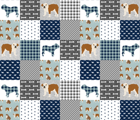 english bulldog pet quilt b fabric quilt dog breed collection cheater fabric by petfriendly on Spoonflower - custom fabric