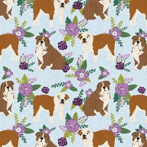 english bulldog pet quilt c  fabric quilt dog breed collection floral