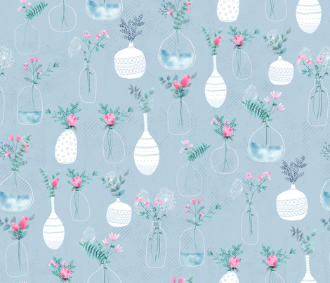 Farmhouse Vases fabric by red_raspberry_designs on Spoonflower - custom fabric
