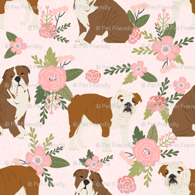 english bulldog pet quilt d fabric quilt dog breed collection floral