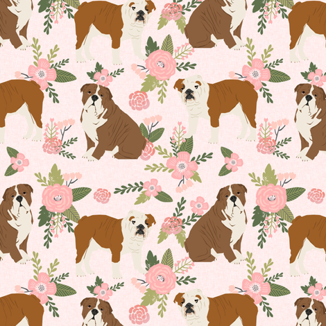 english bulldog pet quilt d fabric quilt dog breed collection floral fabric by petfriendly on Spoonflower - custom fabric