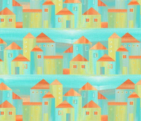 Spanish village fabric by dariara on Spoonflower - custom fabric