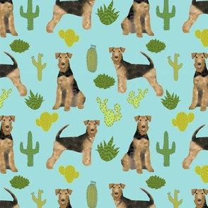 airedale terrier cactus dog breed fabric blue