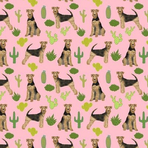 airedale terrier (smaller) cactus dog breed fabric pink