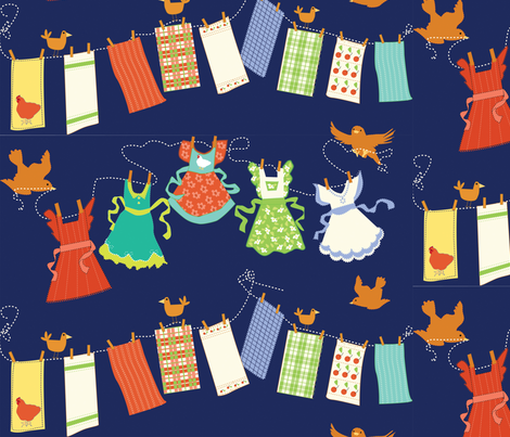 country clothesline fabric by lacy_and_jojo on Spoonflower - custom fabric