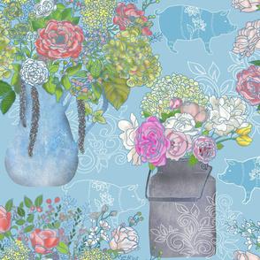 Farmhouse Floral Blues