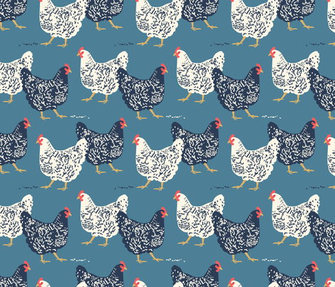 farmhouse chickens fabric by laura_may_designs on Spoonflower - custom fabric