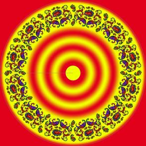 Wycinanka Peacock Embossed Border Print Red-Yellow Round
