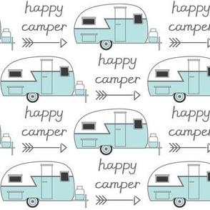vintage blue trailer with happy camper arrow