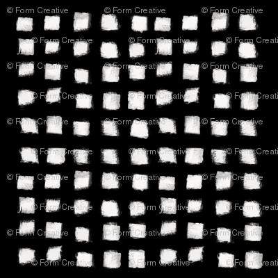 Polka Strokes - Off White on Black