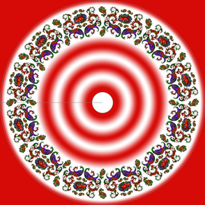 Wycinanka Peacock Embossed Border Print Red-White Round