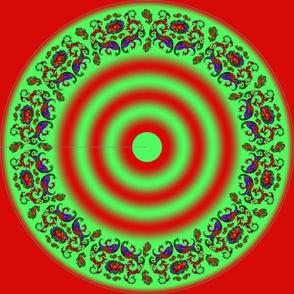 Wycinanka Peacock Embossed Border Print Red-Green Round