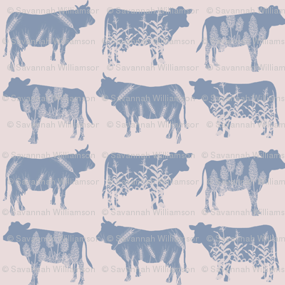 Modern Farmhouse Blue Cow