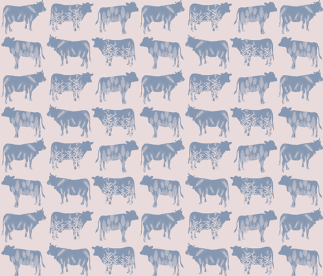 Modern Farmhouse Blue Cow fabric by savannah's_shoppe on Spoonflower - custom fabric