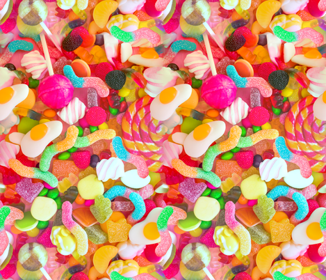 candy sweets colorful rainbow gummi jellys gummy gelatin worms marshmallows gumdrops sour worms omelette lollipop fruits raspberry grapes chocolate raspberries neon green blue pink yellow orange fabric by raveneve on Spoonflower - custom fabric