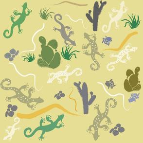 Yucatan Geckos and cactus plants, by Susanne Mason