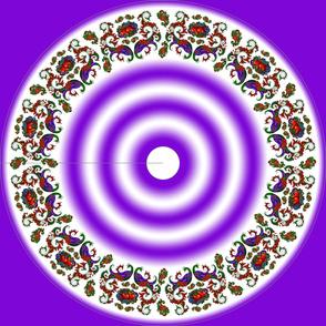 Wycinanka Peacock Embossed Border Print Purple-White Round