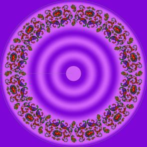 Wycinanka Peacock Embossed Border Print Purple-Pink Round