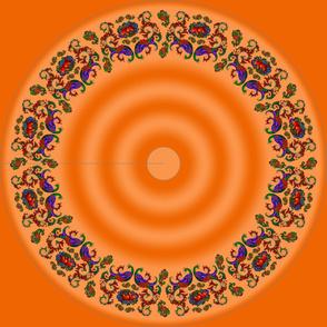 Wycinanka Peacock Embossed Border Print Orange-Peach Round