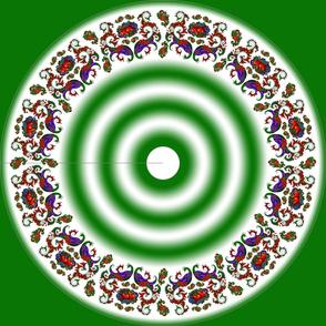 Wycinanka Peacock Embossed Border Print Green-White Round