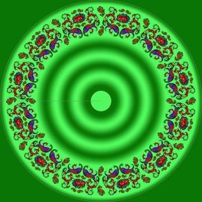 Wycinanka Peacock Embossed Border Print Green-Green Round