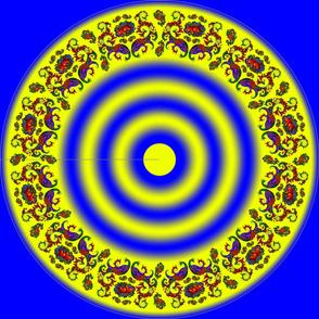 Wycinanka Peacock Embossed Border Print Blue-Yellow Round