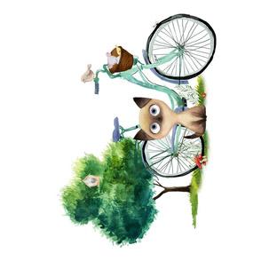 """17""""x21"""" Kitty with Bike"""