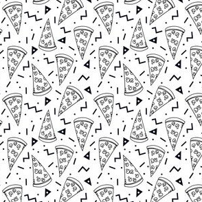 pizza party //  black and white pizza party shapes rad 90s kids triangles food mini