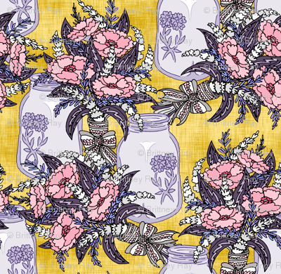 Lavender and Poppies on Yellow