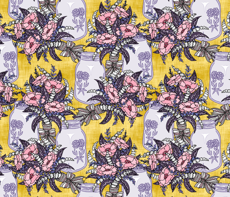Lavender and Poppies on Yellow fabric by pond_ripple on Spoonflower - custom fabric