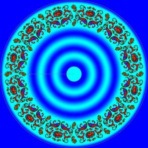 Wycinanka Peacock Embossed Border Print Blue-Cyan Round