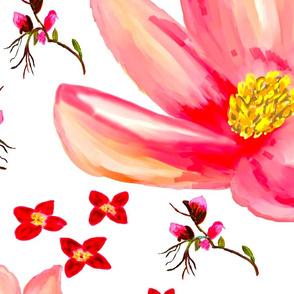 Magnolia Upholstery Pattern white