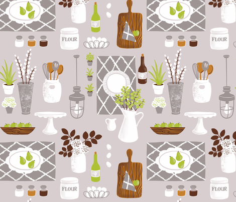 Modern Farmhouse Style Kitchen fabric by heather_anderson on Spoonflower - custom fabric