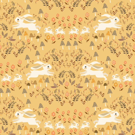 Bunny family yellow fabric by gomboc on Spoonflower - custom fabric