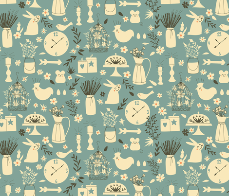 Little friends at the farmhouse fabric by natalia_gonzalez on Spoonflower - custom fabric