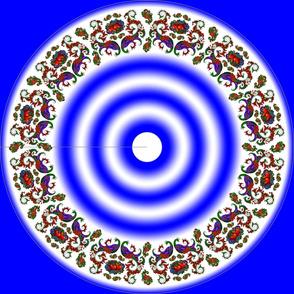 Wycinanka Peacock Embossed Border Print Blue-White Round