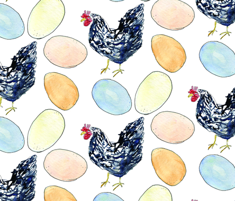 Chicken or the Egg fabric by copapod on Spoonflower - custom fabric