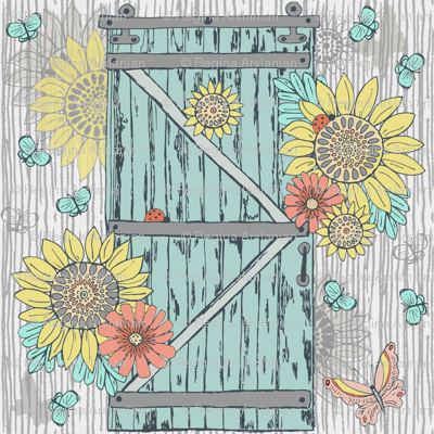 Aged Barn Door with Sunflowers