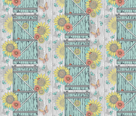 Aged Barn Door with Sunflowers fabric by palifino on Spoonflower - custom fabric