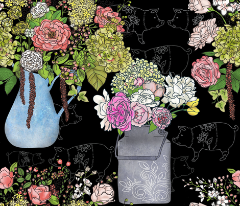 Farmhouse Floral Chalkboard Piggy fabric by honoluludesign on Spoonflower - custom fabric