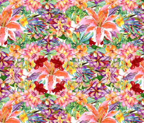 Tropical Hibiscus fabric by sweet_peach on Spoonflower - custom fabric
