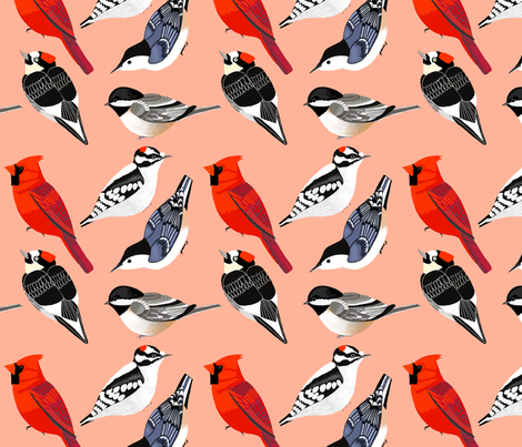 birds coral fabric by emilyrosethomson on Spoonflower - custom fabric