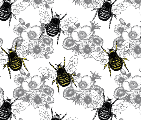 bees fabric by sara_baker_surface_design on Spoonflower - custom fabric