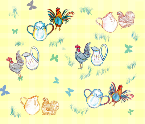 Rooster Pitchers fabric by alohajean on Spoonflower - custom fabric