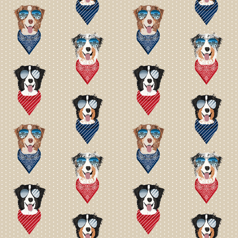 aussie sunglasses australian shepherd summer dog breed pet fabric tan fabric by petfriendly on Spoonflower - custom fabric
