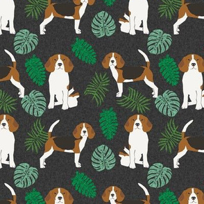 beagle monstera palm tropical summer dog breed pet fabric dark