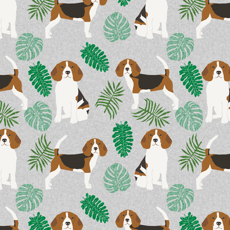 beagle monstera palm tropical summer dog breed pet fabric grey fabric by petfriendly on Spoonflower - custom fabric
