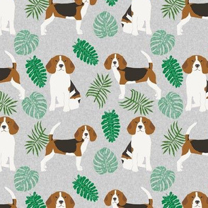 beagle monstera palm tropical summer dog breed pet fabric grey