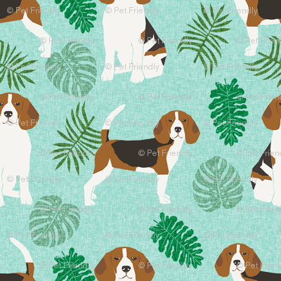 beagle monstera palm tropical summer dog breed pet fabric