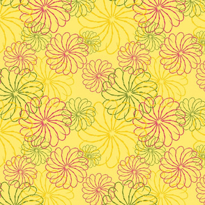 Yellow stenciled floral
